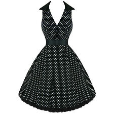 Hearts and Roses London Black Dot 50s Vintage Rockabilly Swing Party Prom Dress
