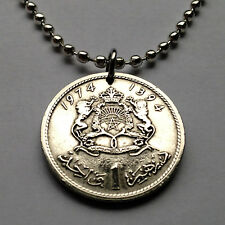 Morocco 1 Dirham coin pendant MAROC necklace LIONS green STAR pentagram n001590