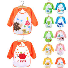 High Quality Cute Waterproof Long Sleeve Bib Apron for Newborn Baby Toddler Kids