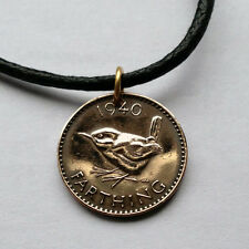 UK Great Britain farthing coin pendant WREN Jenny bird British necklace n000049