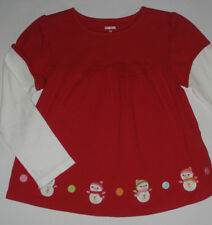 Gymboree Cozy Cutie Shirt 18 24 mo New Red Snowman Swing Top Girls Winter Twins