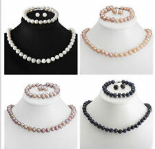 8-9mm Genuine Natural Akoya Cultured Pearl Necklace Bracelet Earring Jewelry Set