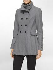 calvin klein womens double breasted military coat jacket