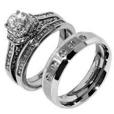 3 PCS Hers Luxury Round Cut CZ Stainless Steel Wedding RING SET/His 5 CZs Band