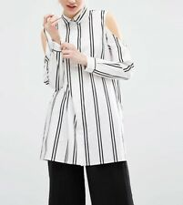 New Womens Cold Shoulder Striped Print  Long Sleeve Button Down Shirt Blouse Top