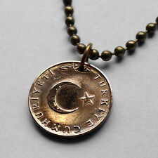 Turkey 5 kurus coin pendant Turks necklace Istanbul crescent moon star n000795