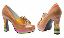 "ELLIE 425-FAROUT Women's 4"" Chunky Heel Pump Flower Hippie Platform Pumps"