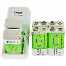 6x 9V BTY Green 300mAh Ni-Mh Rechargeable Battery + Dual Batteries Charger
