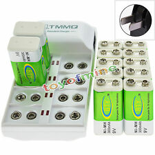 12x 9V 6F22 PPS 300mAh Ni-Mh Rechargeable Battery + 8 Slot Batteries Charger