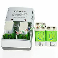 5 BTY 9v 9 Volt Rechargeable Battery 300mAh + Charger