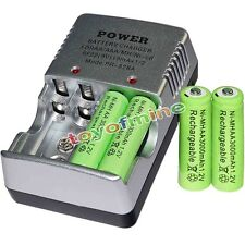4 AA battery batteries Bulk Rechargeable NI-MH 3000mAh 1.2V Gre + Smart Charger