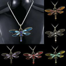 Vintage Silver Dragonfly Crystal Rhinestone Long Sweater Chain Pendant Necklace