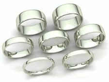 Comfort Fit Euro Dome Wedding Band Ring Mens Womens 2mm-8mm Solid 18k White Gold