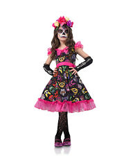 Day of the Dead Child Dress Mexican Sugar Skull Halloween Costume Girls Pink