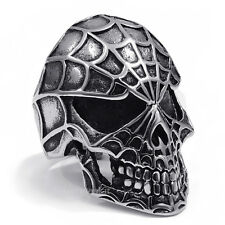 Mens Evil Spider Skull Band Stainless Steel Biker Man Ring Jewelry Size 7-13