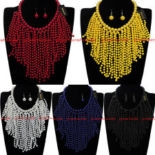 Fashion Jewelry Chain Resin Pearl Tassels Choker Statement Pendant Bib Necklace