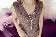 Women's Elegant Pearl Flower Sweater Chain Long Pendant Necklace Fashion Jewelry