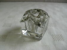 VINTAGE SQUARE GLASS INKWELL WITH TAPERED SIDES