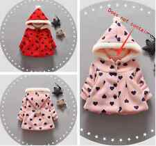 Toddler Baby Girls outerwear loving heart Hooded coats Winter Kids Girl Clothes