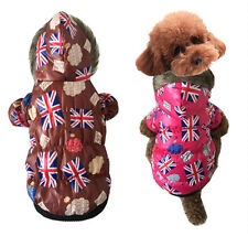 Pet Dog Cat  Clothes Winter Warm Apparel Hoodie The Union Jack Wind Coat Outfit