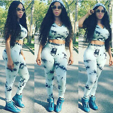 Sexy Women 2pcs Printed Jumpsuit Bodycon Playsuit Hooded Crop Top Pants Leggings