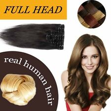 "18"" 20"" 22"" Remy 100% Human Hair Extensions Clip In Full Head Brown Black HQ392"
