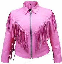 Ladies Premium Pink Cowhide Leather Full Cut Motorcycle Jacket with Fringes