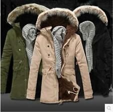 New mens coat faux fur hooded coat windbreaker cotton warm parka long jacket ##