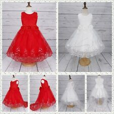 Flower Girl Dress Lace Princess Formal Pageant Wedding Bridesmaid Party NEW