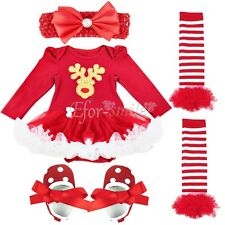 4PCS Newborn Baby Girl Christmas Fancy Costume Romper Tutu Dress Outfit Clothing