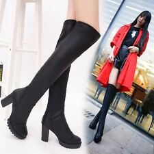 Fashion Womens Elegant PU Leather Over the Knee High Heel Chunky Boots Shoes C