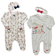 Baby Girls Sleepsuit and Cradle Cap or Headband Set Two Styles Bunny Themed