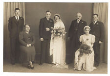 WEDDING Bride Groom & Guest Vintage Photograph c1930 by Seaman of Sheffield