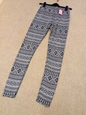 Black Cream Patterned Fine Jersey Leggings And River Island Size 10