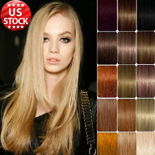 """22"""" 80g 7pcs 100% Remy Human Hair Extensions Straight Clip In DIY Highlight"""