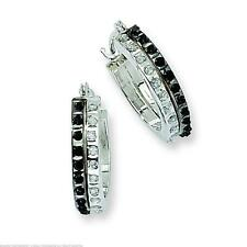 14K White Gold IJ Black Diamond Hoop Earrings