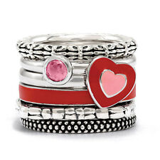 Sterling Silver Stackable Red and Pink Enamel Heart Ring Set