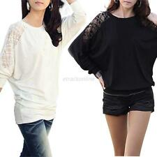 Fashion Women Long Sleeve Tops Pullover Casual Batwing Blouse Lace Loose T-Shirt