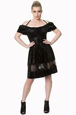 Banned Victorian Goth Velvet Black Lace Mini Evening Corset Party Dress UK 8-16