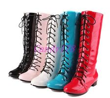 Womens Mid Calf Boots Lolita Cosplay Lace Up Patent Leather Dress Cosplay Shoes