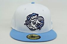 University of North Carolina UNC Tarheels White Blue New Era 59Fifty Fitted Hat