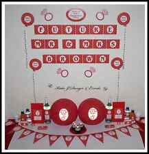 ** ENGAGEMENT PARTY Red White Hearts PERSONALISED Party Decorations *
