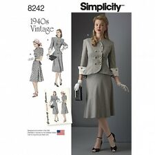 Simplicity Ladies Sewing Pattern 8242 1940's Vintage Style Jacket & Shirt...
