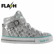 Skechers Kids Twinkle Toes Sweet Hi Tops Girls Padded Zip Lace Up Shoes