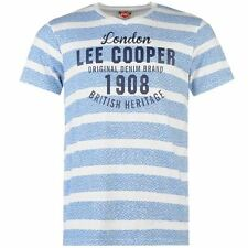 Lee Cooper Mens Textured Stripe T Shirt Casual Graphic Short Sleeve V Neck Tee