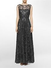 calvin klein womens sequined flared gown dress