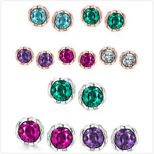 1Pairs Hot Sale Lots Crystal Rhinestone Round Stud Earrings Fit Jewelry Gifts D
