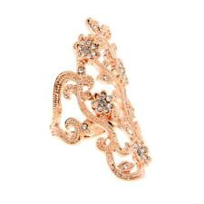 Gold Tone Hollow Flower Above Knuckle Armor Crystal Rhinestone Band Finger Rings