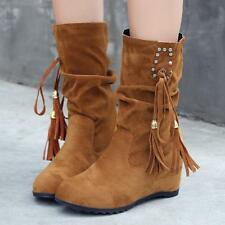 Womens Faux Suede Tassel Bowknot Hodden Wedge Heels Slouch Mid-Calf Boots Size@@
