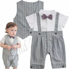 Baby Boy Formal Party Wedding Tuxedo Outfit Suit Gentleman Romper Outfit Xmas